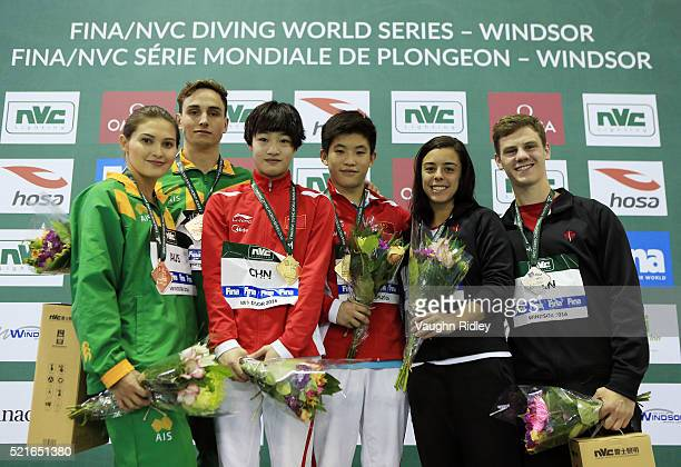 Melissa Wu and Domonic Bedggood of Australia win Bronze Yani Chang and Xiaohu Tai of China win Gold and Meaghan Benfeito and Vincent Riendeau of...