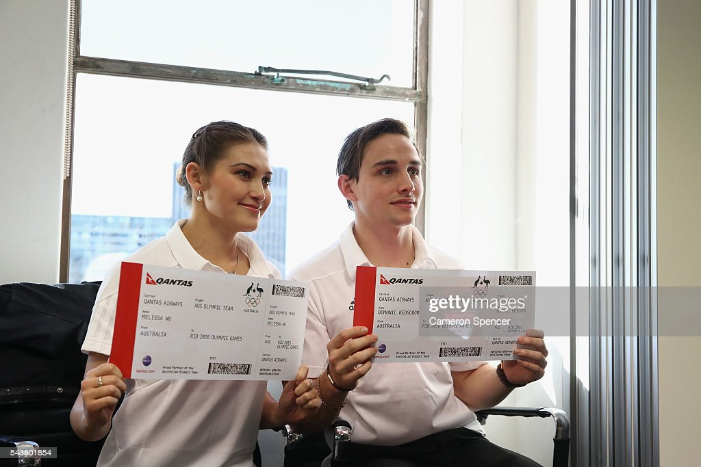 Melissa Wu and Domonic Bedggood pose during the Australian Olympic Games diving team announcement at the Museum of Contemporary Art on June 29, 2016 in Sydney, Australia.