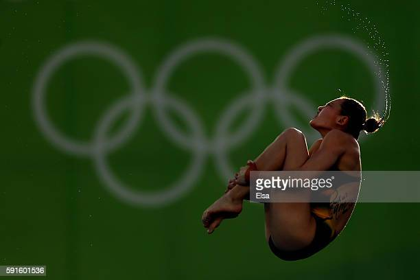 Melissa Wu of Australia competes during the Women's 10m Platform Diving preliminaries on Day 12 of the Rio 2016 Olympic Games at Maria Lenk Aquatics...