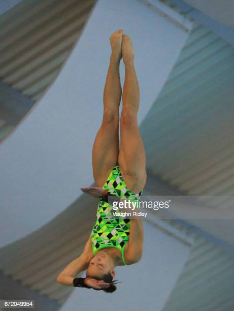 Melissa Wu of Australia competes in the Women's 10m Semifinal A during the 2017 FINA Diving World Series at the Windsor International Aquatic and...