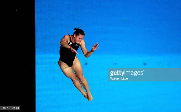 Melissa Wu of Australia dives during the semi final of the Women's 10m Platform on day two of the 2015 FINA/NVA Diving World Series at the Hamdan...