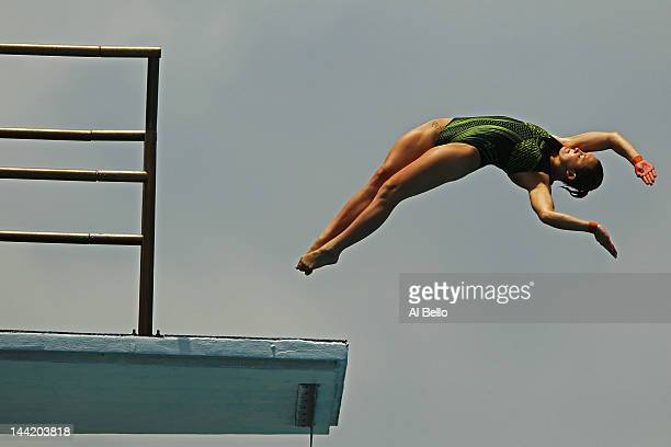 Melissa Wu of Australia dives during the Womens 10m Platform preliminaries at the Fort Lauderdale Aquatic Center on Day 2 of the ATT USA Diving Grand...
