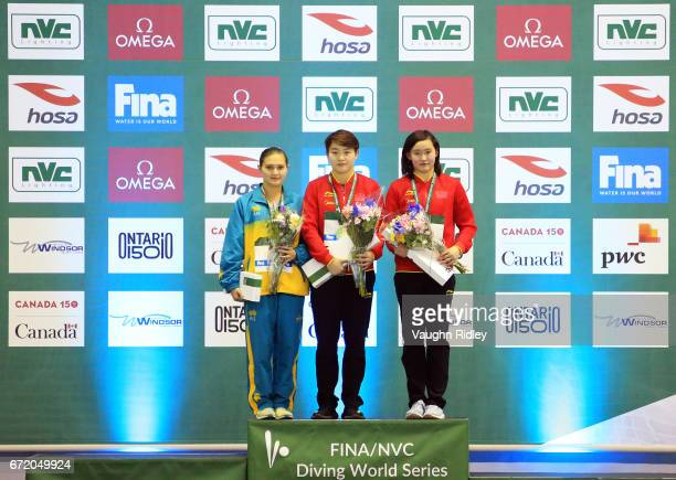 Melissa Wu of Australia wins Silver Yajie Si of China wins Gold and Qian Ren of China wins Bronze in the Women's 10m Final during the 2017 FINA...
