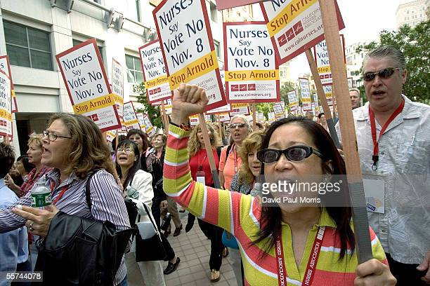Melita DionisioTemple a registered nurse from Los Angeles rallies with several hundred nurses from the California Nurses Association as they to...