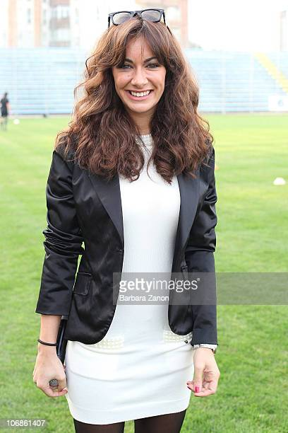 Melita Toniolo of Grande Fratello attends the charity football match between Mediaset Stars and Grande Fratello Team on November 14 2010 in Treviso...