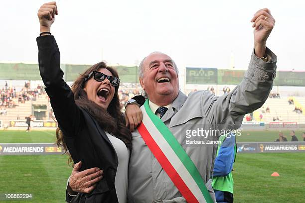 Melita Toniolo with Giancarlo Gentilini attend the charity football match between Mediaset Stars and Grande Fratello Team on November 14 2010 in...