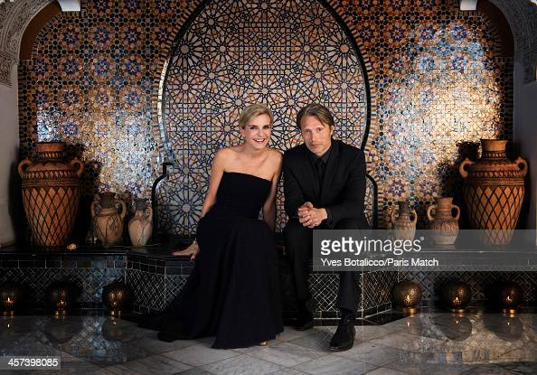Melita Toscan Du Plantier and actor Mads Mikkelsen are photographed for Paris Match on November 29 2013 in Marrakech Morocco