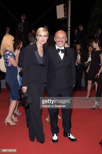 Melita Toscan du Plantier and Christian Louboutin attend the 'In The Fade ' screening during the 70th annual Cannes Film Festival at Palais des...