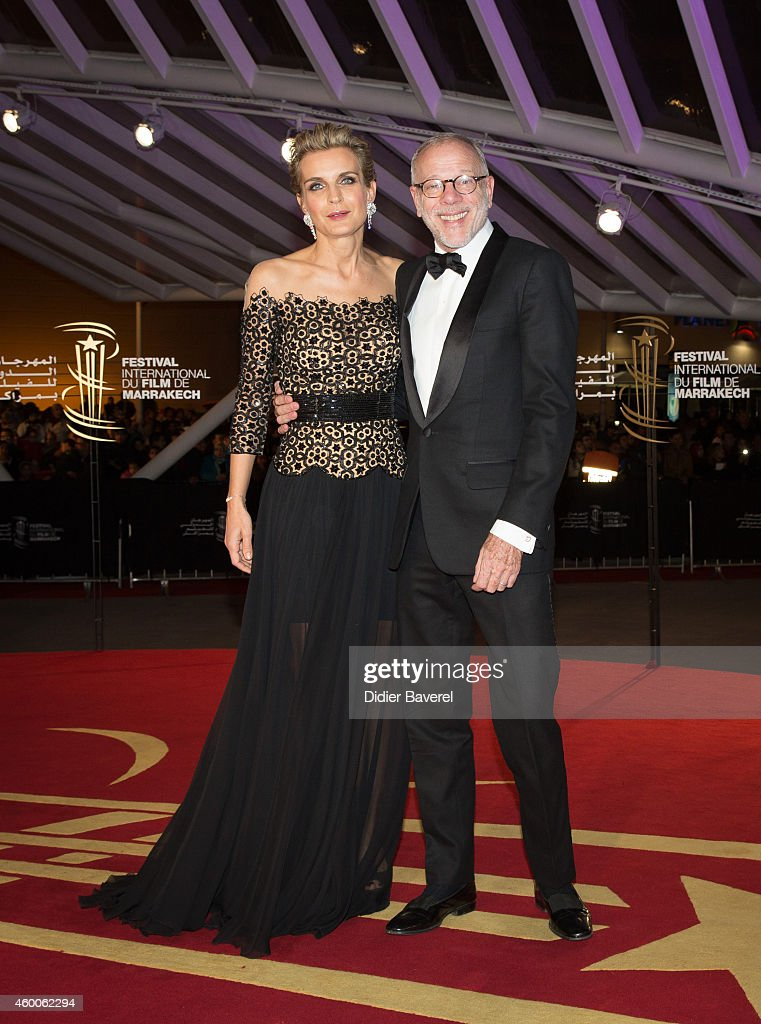 Melita Toscan du Plantier and Pascal Greggory attend the Tribute to Jeremy Irons as part of the 14th Marrakech International Film Festival December 6, 2014 in Marrakech, Morocco.