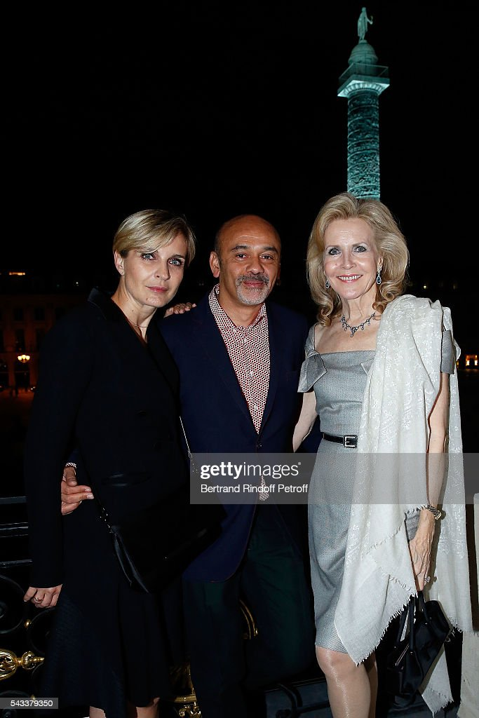 Melita Toscan du Plantier, Christian Louboutin and Melissa Bouygues attend the 'Colonne Vendome' Is Unveiled After Restoration Works on June 27, 2016 in Paris, France.