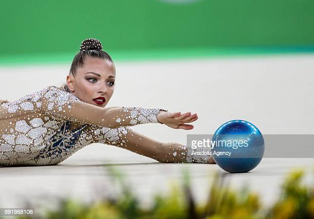 Melitina Staniauta of Belarus performs during the Rhythmic Gymnastics Women's Individual AllAround Qualification of the Rio 2016 Olympic Games at Rio...