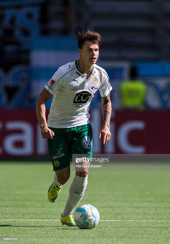 Melker Hallberg of Hammarby IF during the Allsvenskan match between Hammarby IF and Gefle IF at Tele2 Arena on May 29, 2016 in Stockholm, Sweden.