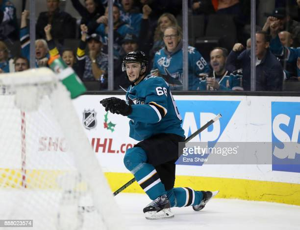 Melker Karlsson of the San Jose Sharks celebrates after he scored a shorthanded goal against the Carolina Hurricanes at SAP Center on December 7 2017...
