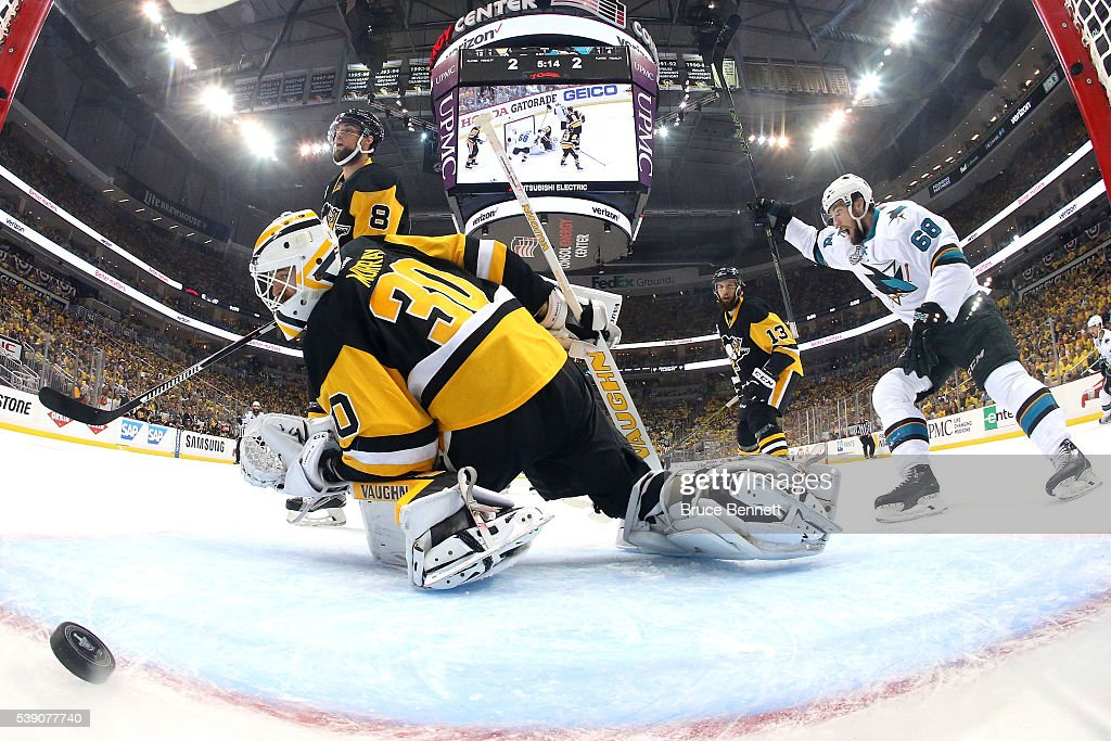 Melker Karlsson #68 of the San Jose Sharks celebrates after scoring a goal against Matt Murray #30 of the Pittsburgh Penguins during the first period in Game Five of the 2016 NHL Stanley Cup Final at Consol Energy Center on June 9, 2016 in Pittsburgh, Pennsylvania.