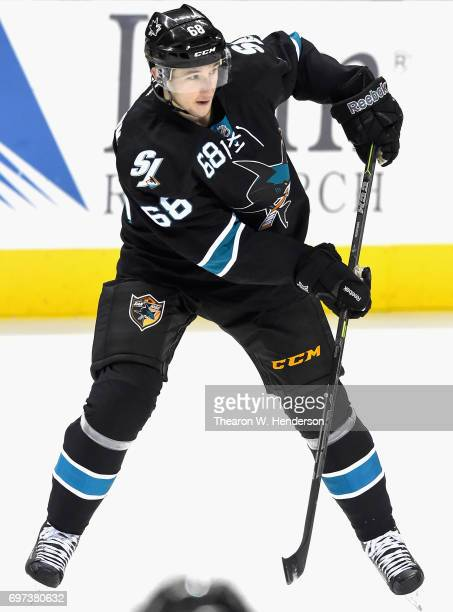 Melker Karlsson of the San Jose Sharks plays in the game against the San Jose Sharks at SAP Center on December 11 2014 in San Jose California
