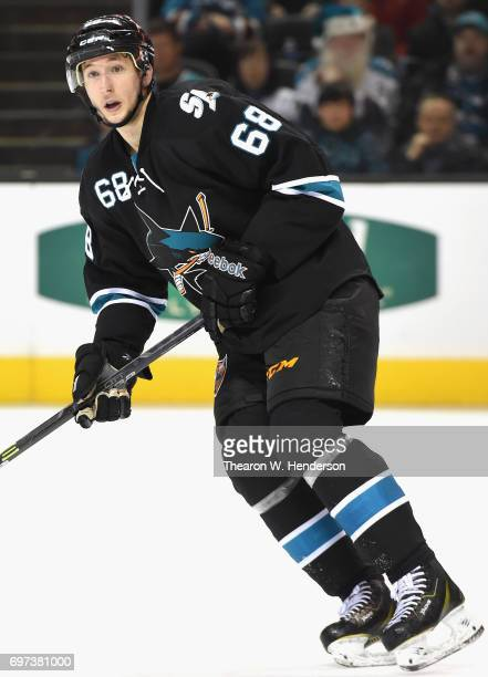 Melker Karlsson of the San Jose Sharks plays in the game against the Minnesota Wild at SAP Center on December 11 2014 in San Jose California