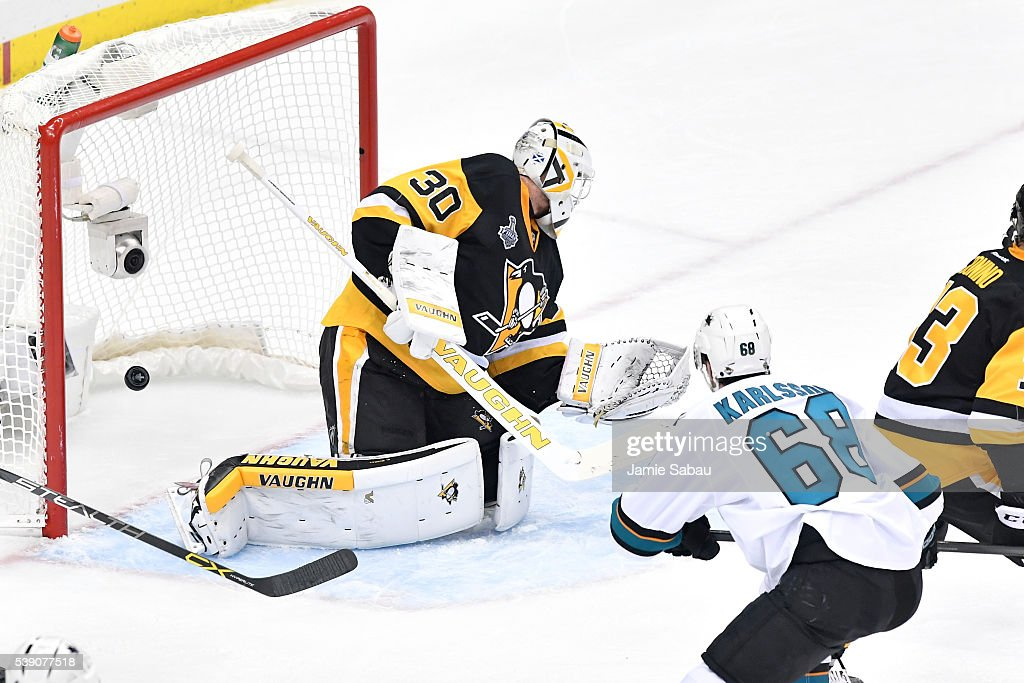 Melker Karlsson #68 of the San Jose Sharks scores a goal against Matt Murray #30 of the Pittsburgh Penguins during the first period in Game Five of the 2016 NHL Stanley Cup Final at Consol Energy Center on June 9, 2016 in Pittsburgh, Pennsylvania.