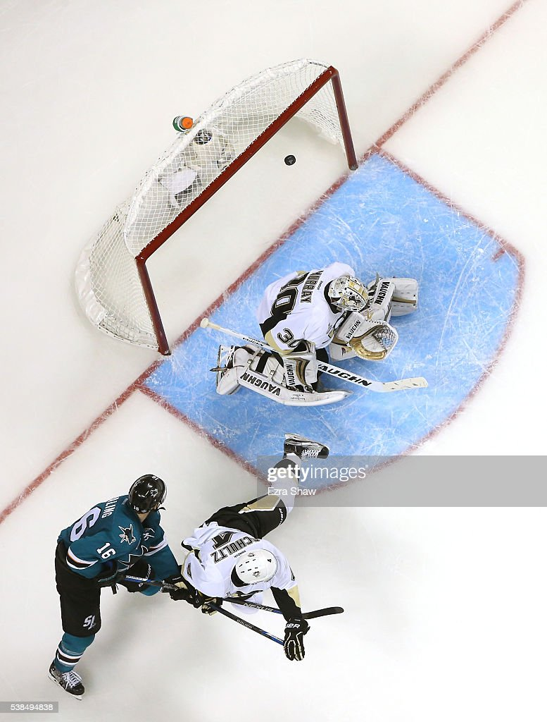 Melker Karlsson #68 of the San Jose Sharks scores on a shot against Matt Murray #30 of the Pittsburgh Penguins in the third period of Game Four of the 2016 NHL Stanley Cup Final at SAP Center on June 6, 2016 in San Jose, California.