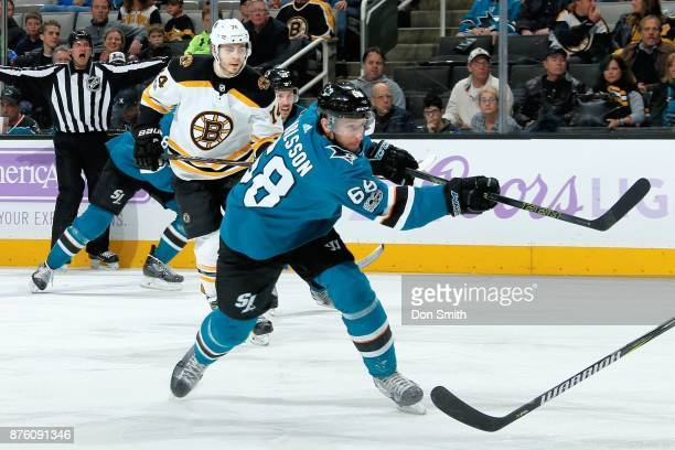 Melker Karlsson of the San Jose Sharks shoots the puck during a NHL game against the Boston Bruins at SAP Center on November 18 2017 in San Jose...