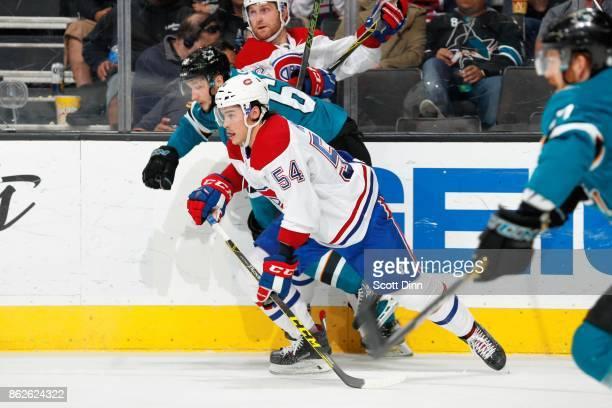 Melker Karlsson of the San Jose Sharks skates against Charles Hudon of the Montreal Canadiens at SAP Center on October 17 2017 in San Jose California
