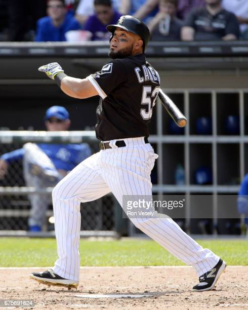 Melky Cabrera of the Chicago White Sox bats against the Kansas City Royals on April 26 2017 at Guaranteed Rate Field in Chicago Illinois The White...