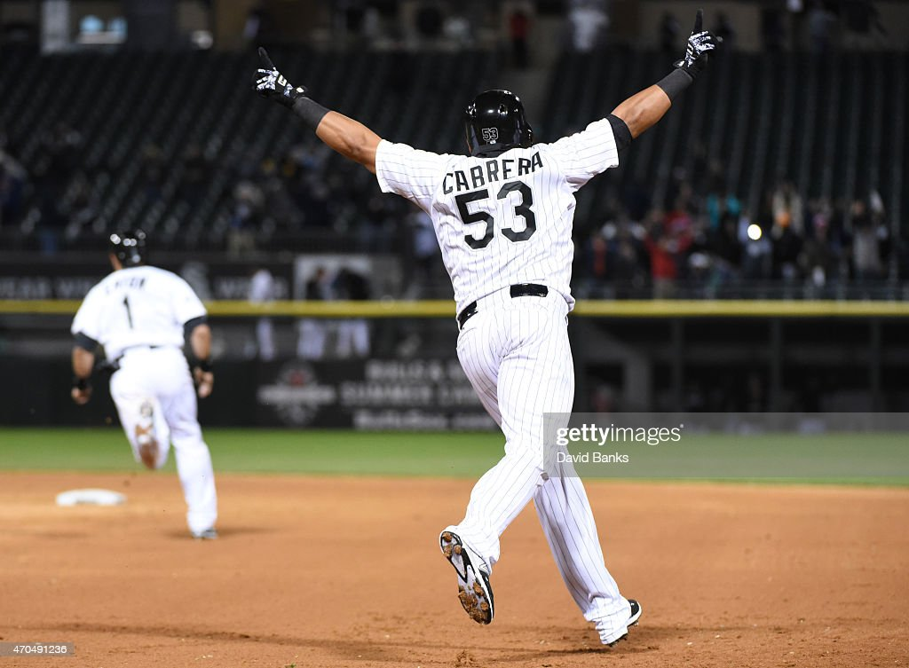 Melky Cabrera of the Chicago White Sox celebrates hitting a walkoff sacrifice against the Cleveland Indians during the ninth inning on April 20 2015...