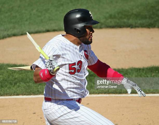 Melky Cabrera of the Chicago White Sox hits a pinch hit broken bat two run single in the 8th inning against the San Diego Padres at Guaranteed Rate...