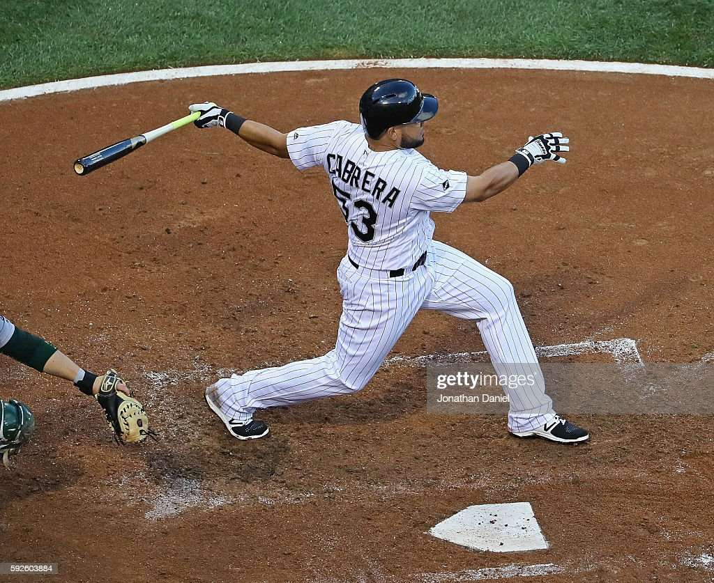 Melky Cabrera #53 of the Chicago White Sox hits a run scoring double in the 3rd inning against the Oakland Athletics at U.S. Cellular Field on August 20, 2016 in Chicago, Illinois.
