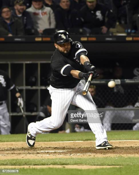 Melky Cabrera of the Chicago White Sox hits a twoRBI single against the Kansas City Royals during the fifth inning on April 24 2017 at Guaranteed...