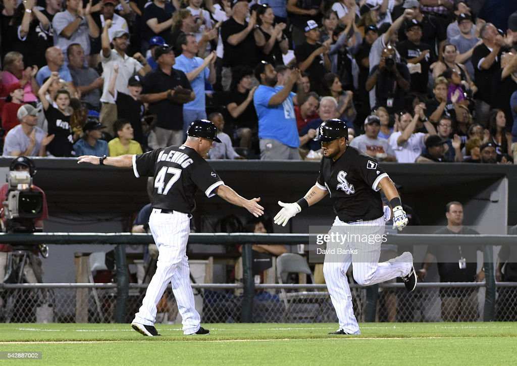 <a gi-track='captionPersonalityLinkClicked' href=/galleries/search?phrase=Melky+Cabrera&family=editorial&specificpeople=453444 ng-click='$event.stopPropagation()'>Melky Cabrera</a> #53 of the Chicago White Sox is greeted by <a gi-track='captionPersonalityLinkClicked' href=/galleries/search?phrase=Joe+McEwing&family=editorial&specificpeople=211298 ng-click='$event.stopPropagation()'>Joe McEwing</a> #47 of the Chicago White Sox after hitting a home run against the Toronto Blue Jays during the fifth inning on June 24, 2016 at U. S. Cellular Field in Chicago, Illinois.
