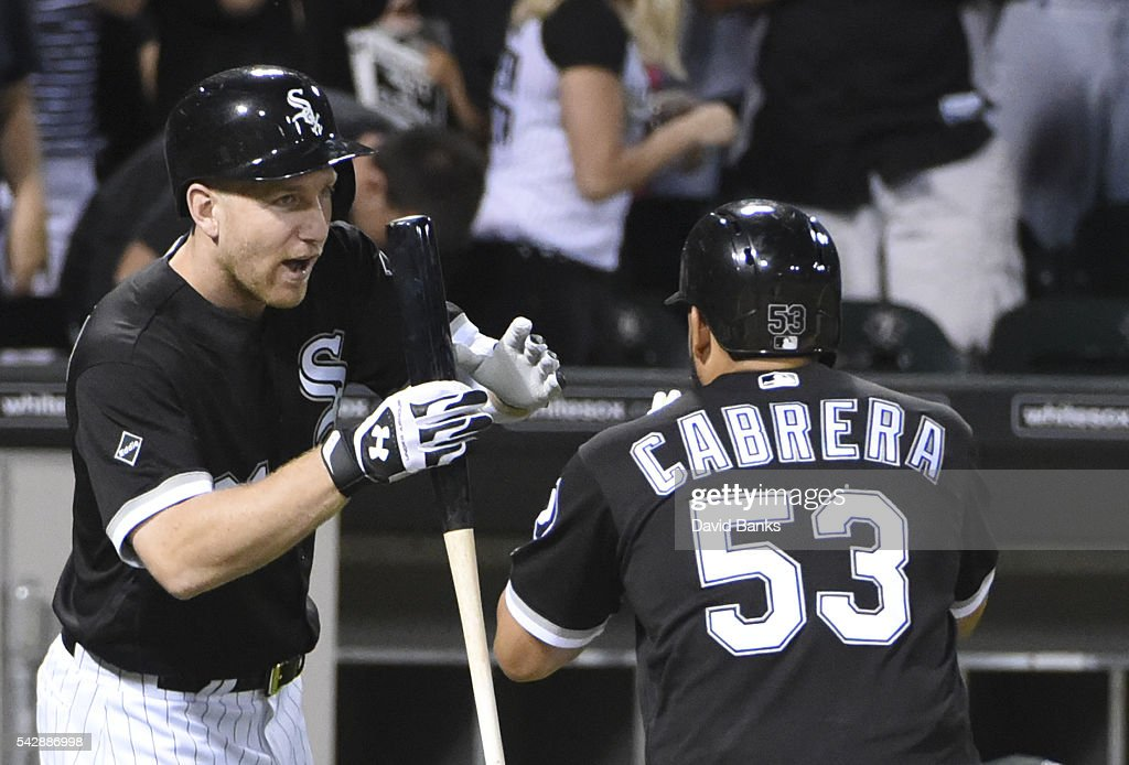 <a gi-track='captionPersonalityLinkClicked' href=/galleries/search?phrase=Melky+Cabrera&family=editorial&specificpeople=453444 ng-click='$event.stopPropagation()'>Melky Cabrera</a> #53 of the Chicago White Sox is greeted by <a gi-track='captionPersonalityLinkClicked' href=/galleries/search?phrase=Todd+Frazier&family=editorial&specificpeople=4778756 ng-click='$event.stopPropagation()'>Todd Frazier</a> #21 of the Chicago White Sox after hitting a home run against the Toronto Blue Jays during the fifth inning on June 24, 2016 at U. S. Cellular Field in Chicago, Illinois.