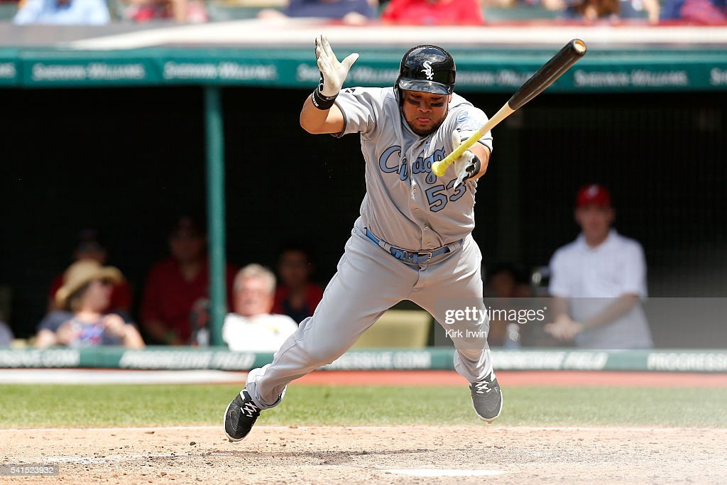 <a gi-track='captionPersonalityLinkClicked' href=/galleries/search?phrase=Melky+Cabrera&family=editorial&specificpeople=453444 ng-click='$event.stopPropagation()'>Melky Cabrera</a> #53 of the Chicago White Sox jumps out of the way of inside pitch during the eight inning of the game against the Chicago White Sox at Progressive Field on June 19, 2016 in Cleveland, Ohio.