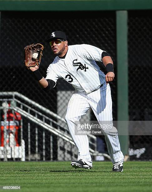 Melky Cabrera of the Chicago White Sox makes a catch in the 3rd inning against the Minnesota Twins during the White Sox home opener at US Cellular...
