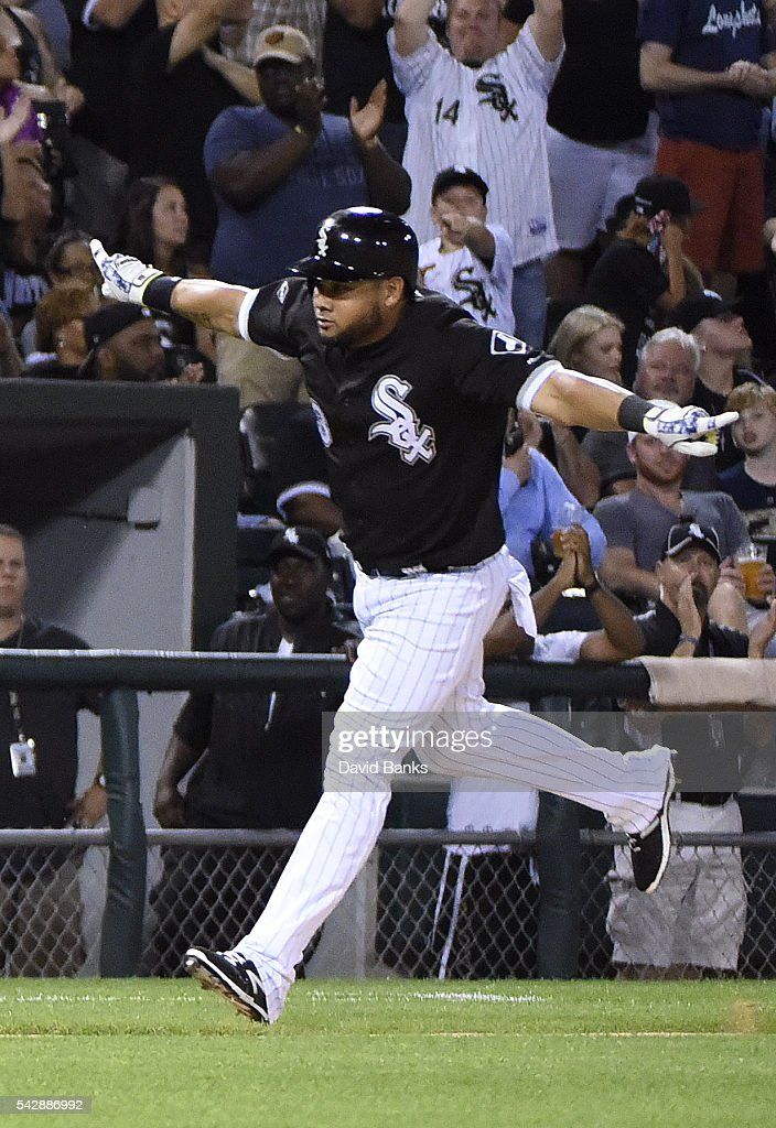 <a gi-track='captionPersonalityLinkClicked' href=/galleries/search?phrase=Melky+Cabrera&family=editorial&specificpeople=453444 ng-click='$event.stopPropagation()'>Melky Cabrera</a> #53 of the Chicago White Sox runs the bases after hitting a home run against the Toronto Blue Jays during the fifth inning on June 24, 2016 at U. S. Cellular Field in Chicago, Illinois.