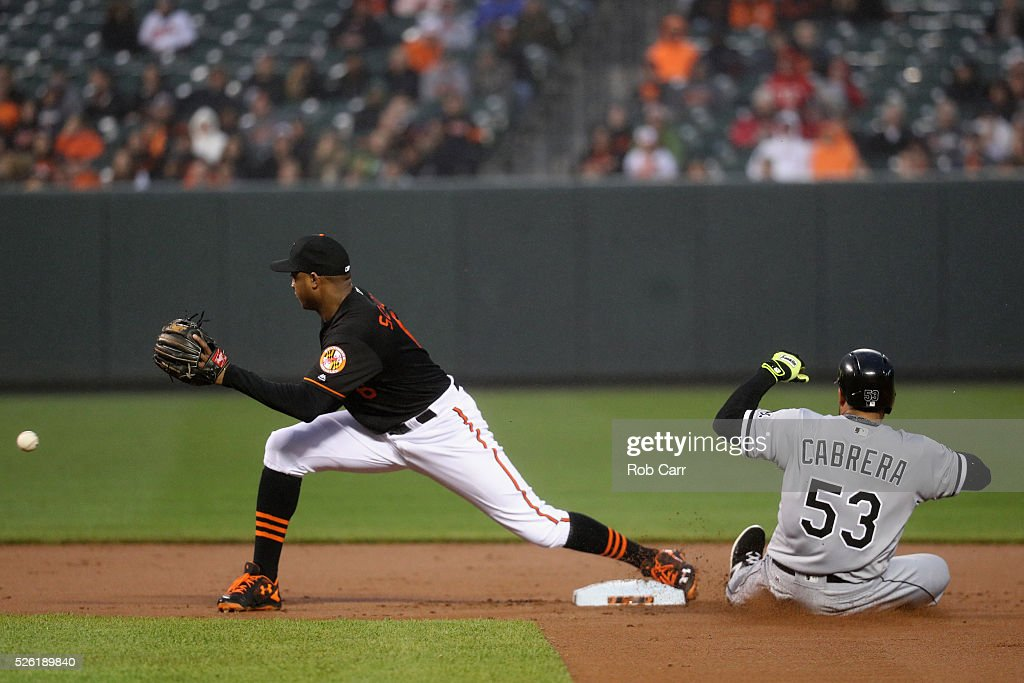 <a gi-track='captionPersonalityLinkClicked' href=/galleries/search?phrase=Melky+Cabrera&family=editorial&specificpeople=453444 ng-click='$event.stopPropagation()'>Melky Cabrera</a> #53 of the Chicago White Sox slides safely into second base ahead of the tag by <a gi-track='captionPersonalityLinkClicked' href=/galleries/search?phrase=Jonathan+Schoop&family=editorial&specificpeople=2526897 ng-click='$event.stopPropagation()'>Jonathan Schoop</a> #6 of the Baltimore Orioles for a second inning double at Oriole Park at Camden Yards on April 29, 2016 in Baltimore, Maryland.
