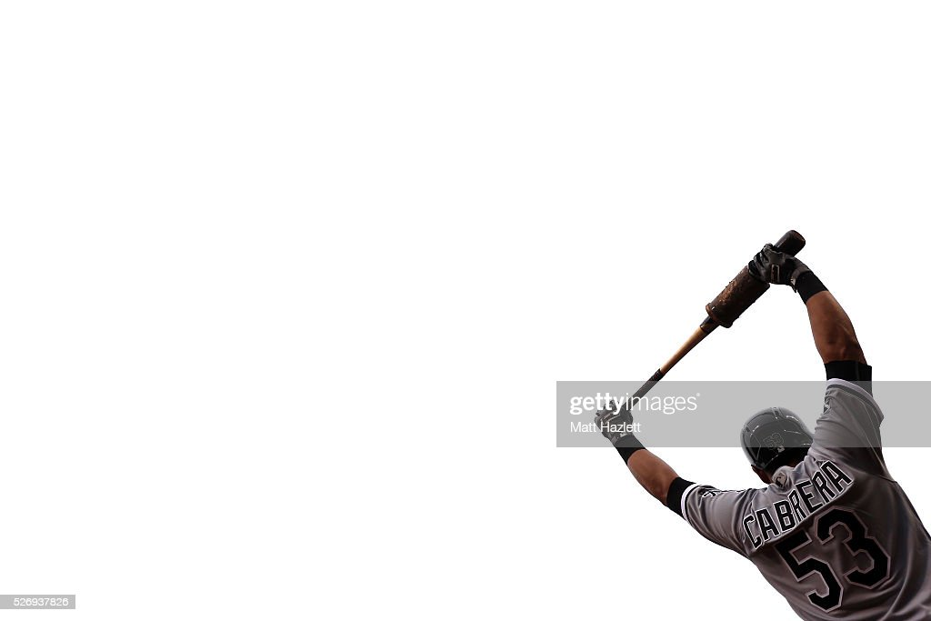 <a gi-track='captionPersonalityLinkClicked' href=/galleries/search?phrase=Melky+Cabrera&family=editorial&specificpeople=453444 ng-click='$event.stopPropagation()'>Melky Cabrera</a> #53 of the Chicago White Sox waits in the on deck circle during a game against the Baltimore Orioles at Oriole Park at Camden Yards on May 1, 2016 in Baltimore, Maryland.
