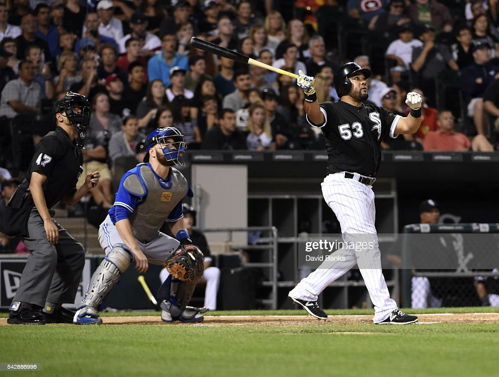 <a gi-track='captionPersonalityLinkClicked' href=/galleries/search?phrase=Melky+Cabrera&family=editorial&specificpeople=453444 ng-click='$event.stopPropagation()'>Melky Cabrera</a> #53 of the Chicago White Sox watches his home run against the Toronto Blue Jays during the fifth inning on June 24, 2016 at U. S. Cellular Field in Chicago, Illinois.