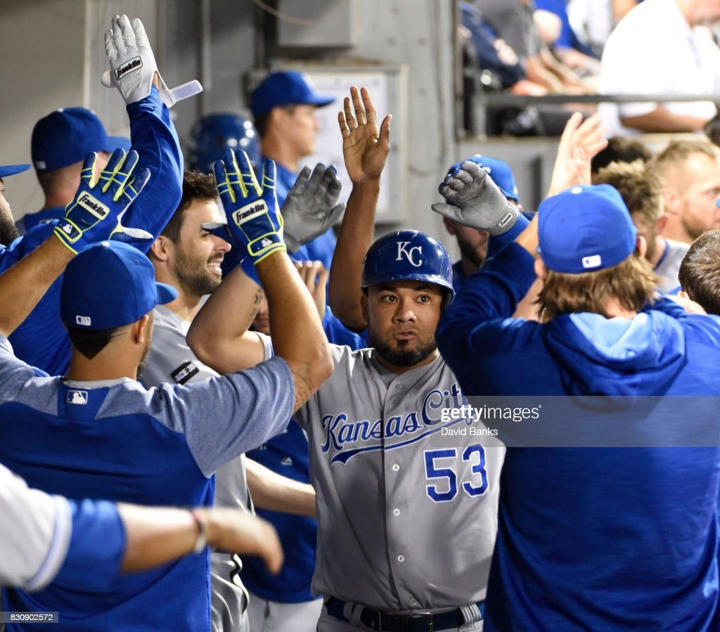 Melky Cabrera #53 of the Kansas City Royals is freeted by his teammates after hitting a two-run homer against the Chicago White Sox during the eighth inning on August 12, 2017 at Guaranteed Rate Field in Chicago, Illinois. The Royals defeated the White Sox 5-4.