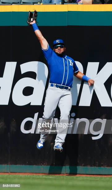 Melky Cabrera of the Kansas City Royals makes a leaping catch to get out Roberto Perez of the Cleveland Indians during the fifth inning at...