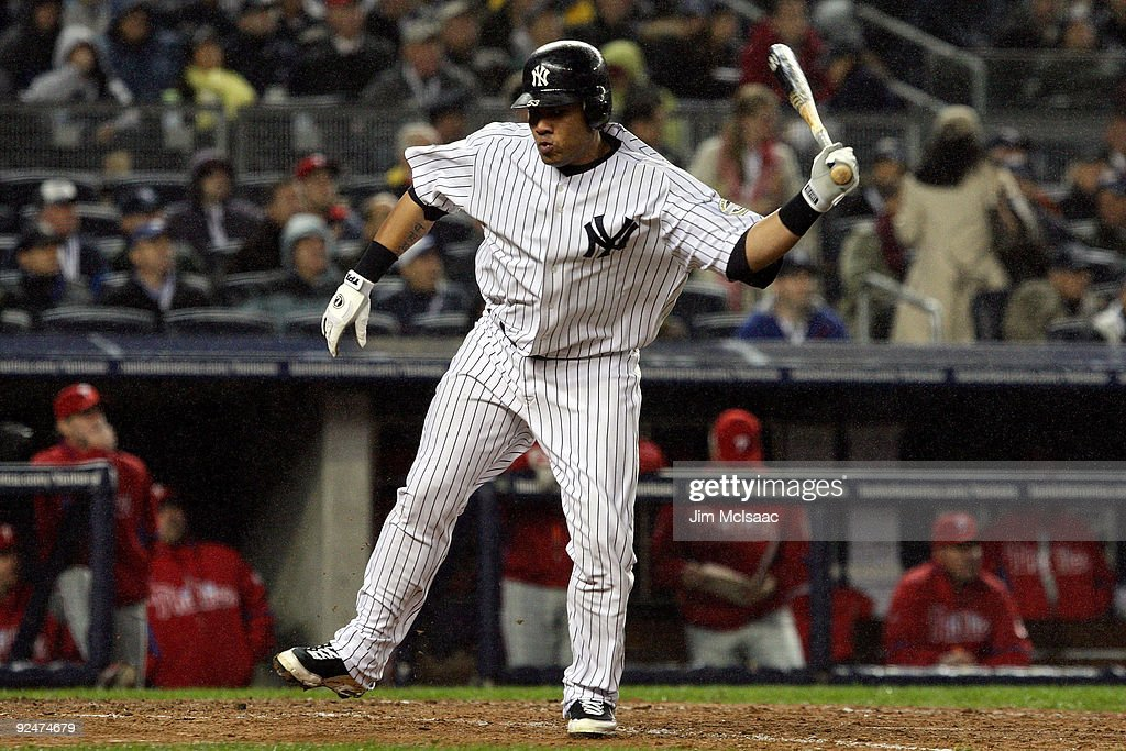 <a gi-track='captionPersonalityLinkClicked' href=/galleries/search?phrase=Melky+Cabrera&family=editorial&specificpeople=453444 ng-click='$event.stopPropagation()'>Melky Cabrera</a> #53 of the New York Yankees reacts after he flied out in the bottom of the sixth inning against the Philadelphia Phillies in Game One of the 2009 MLB World Series at Yankee Stadium on October 28, 2009 in the Bronx borough of New York City.
