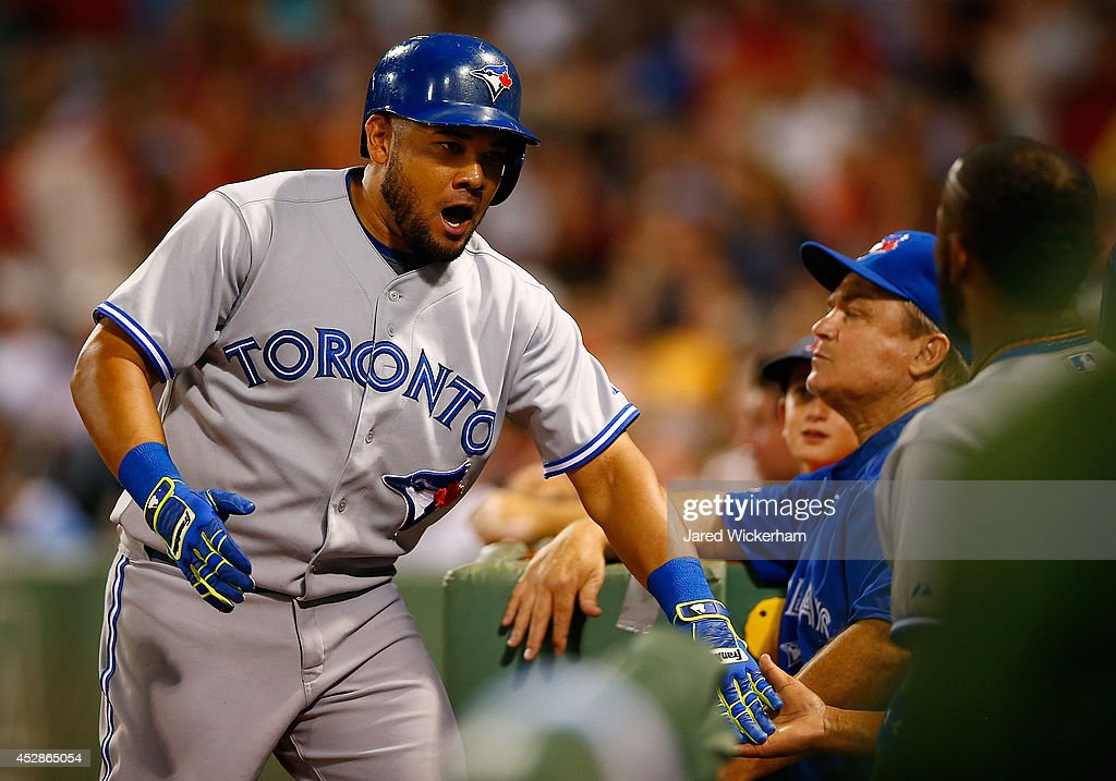 <a gi-track='captionPersonalityLinkClicked' href=/galleries/search?phrase=Melky+Cabrera&family=editorial&specificpeople=453444 ng-click='$event.stopPropagation()'>Melky Cabrera</a> #53 of the Toronto Blue Jays celebrates after hitting his second home run in the sixth inning against the Boston Red Sox during the game at Fenway Park on July 28, 2014 in Boston, Massachusetts.