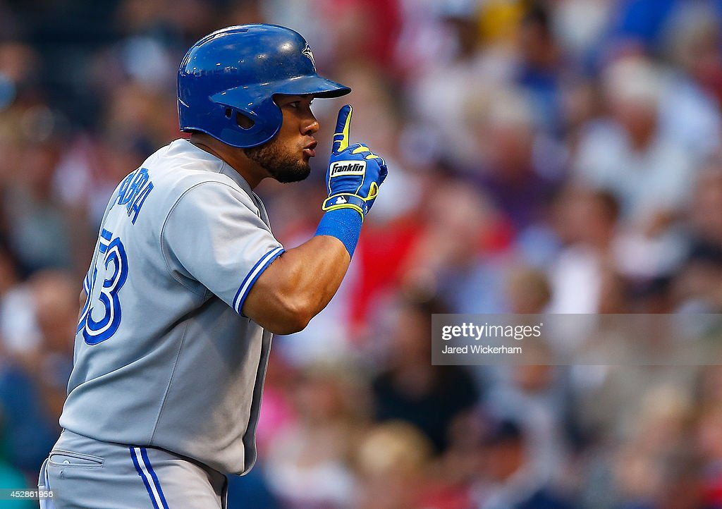 <a gi-track='captionPersonalityLinkClicked' href=/galleries/search?phrase=Melky+Cabrera&family=editorial&specificpeople=453444 ng-click='$event.stopPropagation()'>Melky Cabrera</a> #53 of the Toronto Blue Jays celebrates his two-run home run in the first inning against the Boston Red Sox during the game at Fenway Park on July 28, 2014 in Boston, Massachusetts.