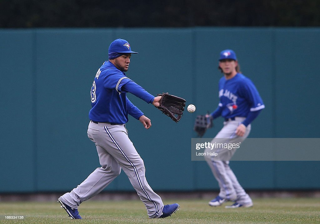 <a gi-track='captionPersonalityLinkClicked' href=/galleries/search?phrase=Melky+Cabrera&family=editorial&specificpeople=453444 ng-click='$event.stopPropagation()'>Melky Cabrera</a> #53 of the Toronto Blue Jays fields the ball on the hit by <a gi-track='captionPersonalityLinkClicked' href=/galleries/search?phrase=Jhonny+Peralta&family=editorial&specificpeople=213286 ng-click='$event.stopPropagation()'>Jhonny Peralta</a> #27 of the Detroit Tigers in the second inning of the game at Comerica Park on April 11, 2013 in Detroit, Michigan. The Tigers defeated the Blue Jays 11-1.