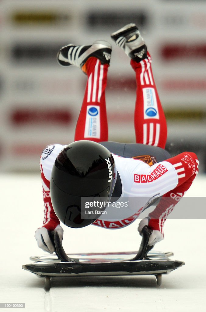 Mellisa Hollingsworth of Canada competes in the women's skeleton third heat of the IBSF Bob & Skeleton World Championship at Olympia Bob Run on February 1, 2013 in St Moritz, Switzerland.