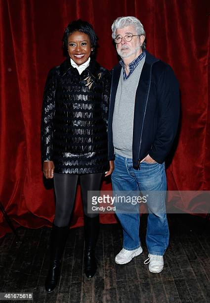 Mellody Hobson and George Lucas attend The New York Special Screening Of Lucasfilm's STRANGE MAGIC At The Tribeca Grand Hotel Hosted By The Cinema...