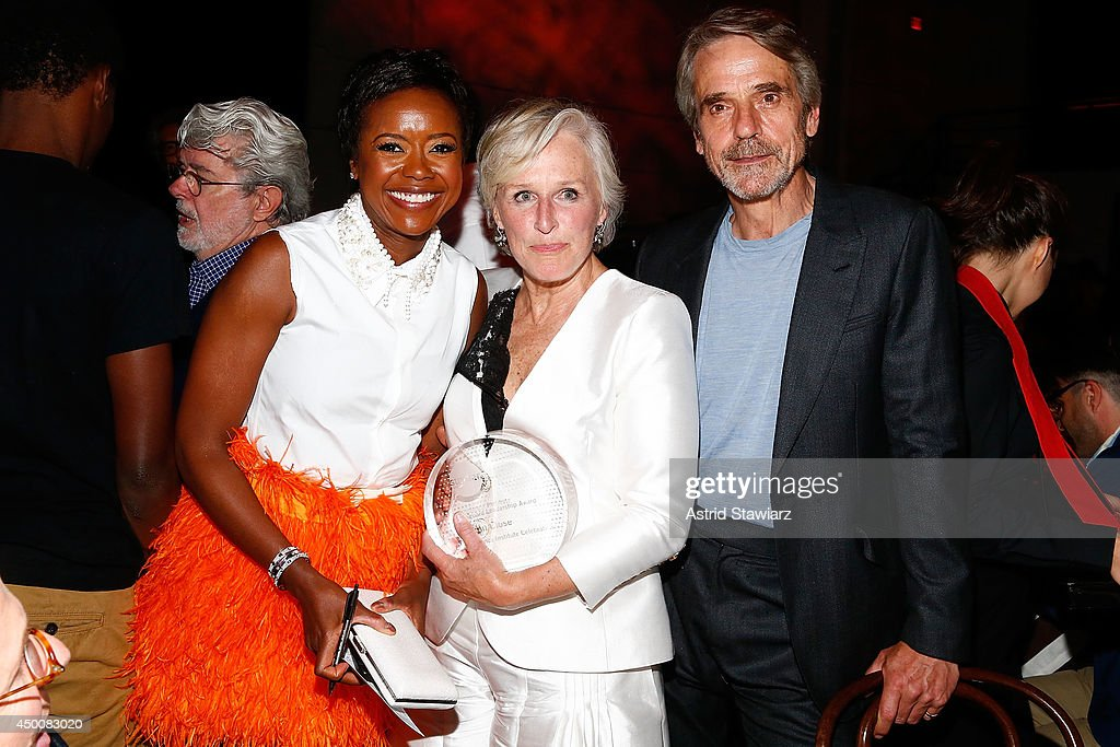 Mellody Hobson Glenn Close and Jeremy Irons attend the Sundance Institute Vanguard Leadership Award honoring Glenn Close at Stage 37 on June 4 2014...