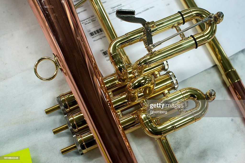 A mellophone sits before it is finished being assembly at a work station in the manufacturing department of the E.K Blessing Co. in Elkhart, Indiana, U.S., on Thursday, Feb. 7, 2013. Photographer: Ty Wright/Bloomberg via Getty Images