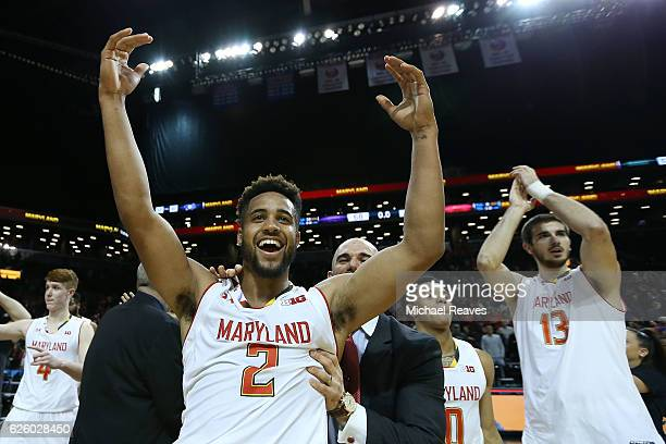 Melo Trimble of the Maryland Terrapins celebrates after hitting the game winning shot as they defeated the Kansas State Wildcats 6968 during the...