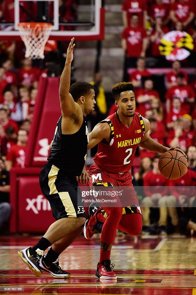 Melo Trimble #2 of the Maryland Terrapins dribbles the ball up court against P.J. Thompson #3 of the Purdue Boilermakers in the second half during their game at Xfinity Center on February 6, 2016 in College Park, Maryland. The Maryland Terrapins defeated the Purdue Boilermakers 72-61.