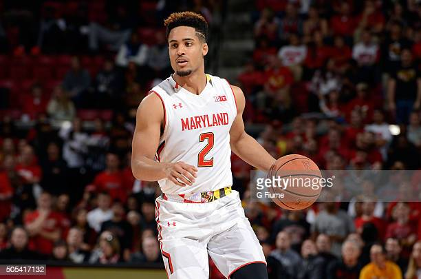 Melo Trimble of the Maryland Terrapins handles the ball against the Ohio State Buckeyes at Xfinity Center on January 16 2016 in College Park Maryland